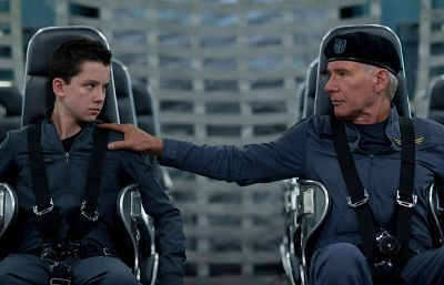 Asa Butterfield and Harrison Ford in Ender's Game.