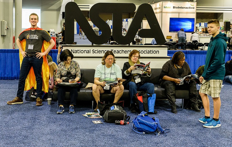 Lounging by the NSTA 18 sign.