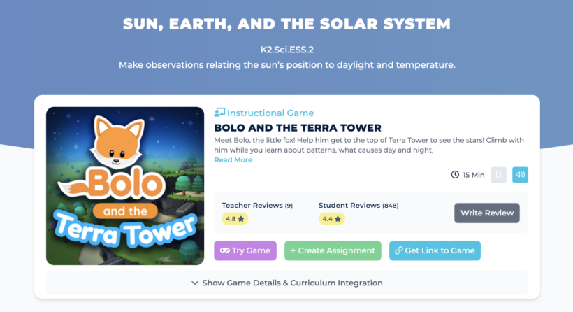 Bolo and the Terra Tower Game Card on Legends of Learning Teacher Site
