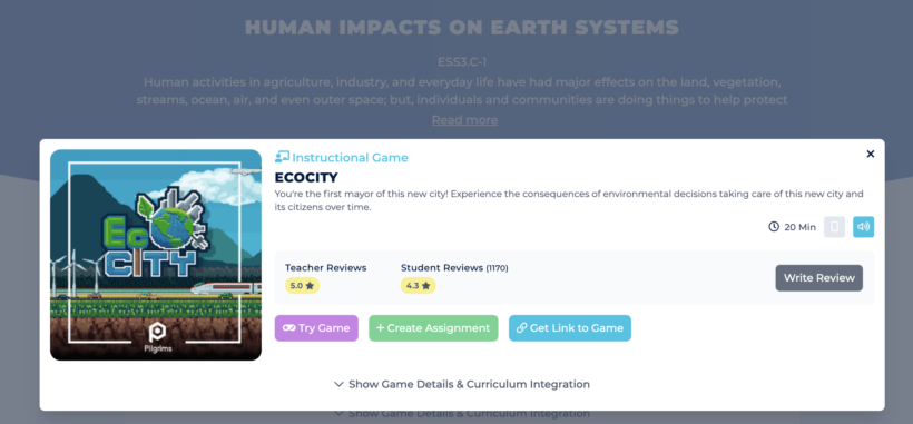 Game Card for EcoCity