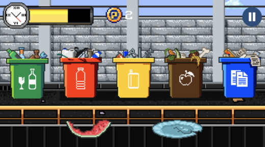 Gameplay in EcoCity game where student must place waste on a conveyor belt in the correctly labeled can.