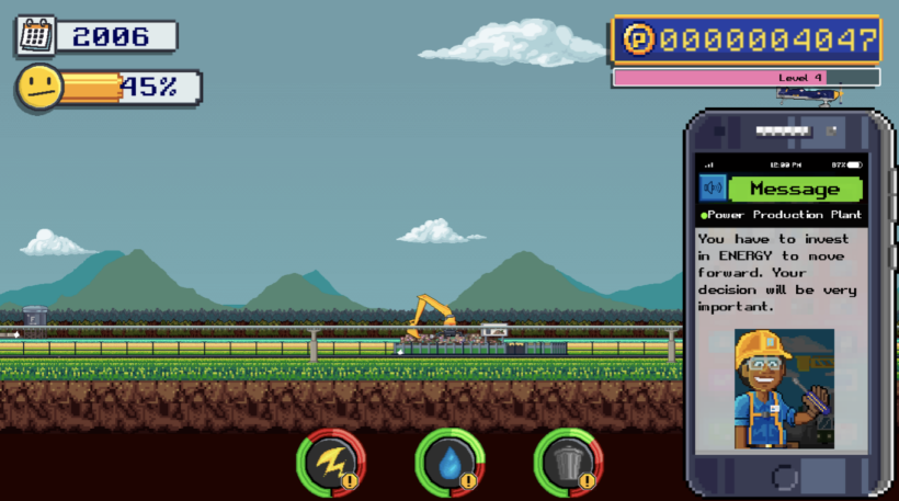 Gameplay in EcoCity where the student is the mayor of the city making important decisions