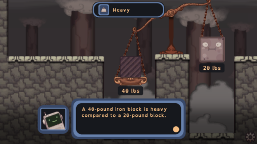 Gameplay in Mighty Chin Chin: What's the Matter showing the physical property of object weight via a traditional scale with a 40 pound block on one side and a 20 pound block on the other.