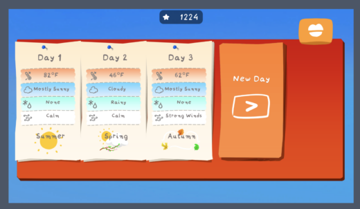 Logging daily weather in the game The Perfect Day