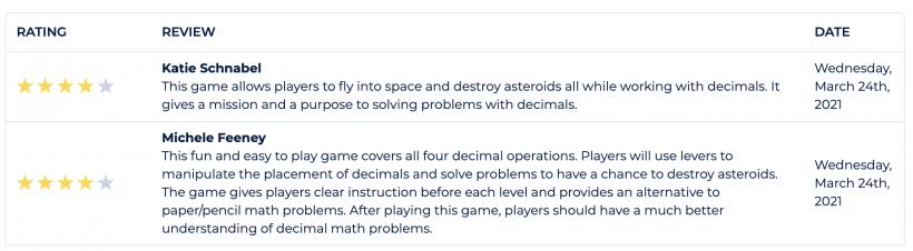Written teacher reviews for Decimal Discovery.
