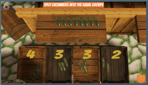 Splitting cucumbers into equal groups to represent multiplication.