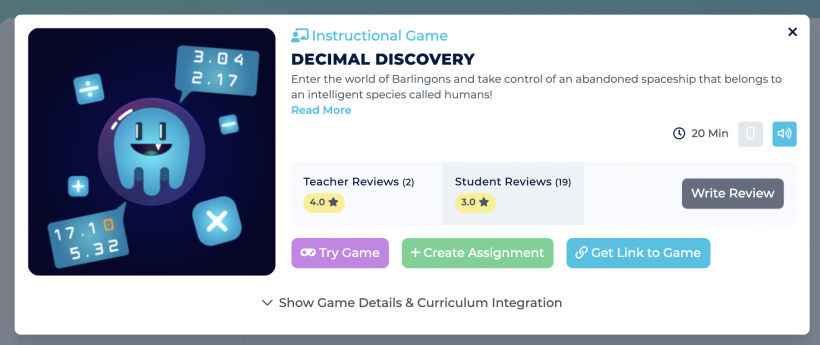 Description and ratings for the game Decimal Discovery.