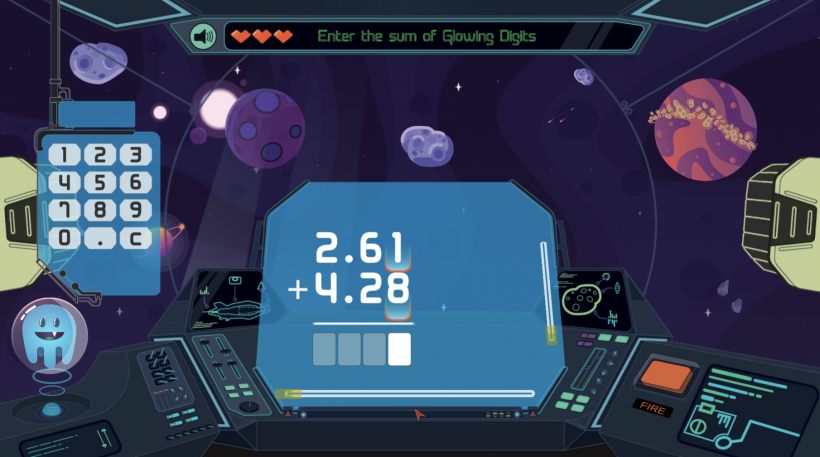 Adding fractions in the game Decimal Discovery