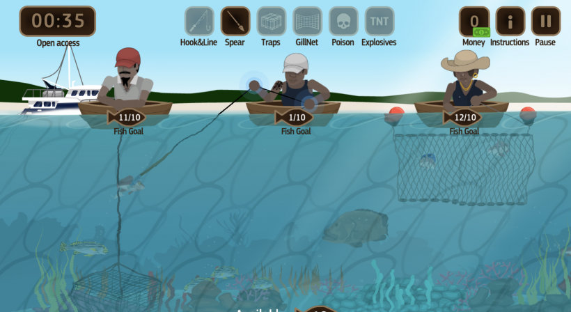 Sustainably catch fish in the game Fishing Rush