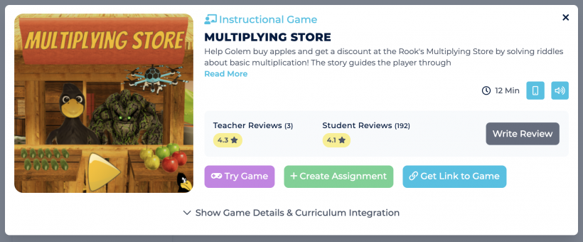 Description and ratings for the game Multiplying Store on the Legends of Learning platform.