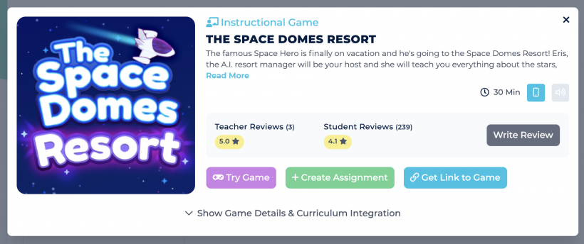 Game card for Space Domes Resort